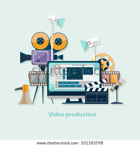 Video production. Flat design. - stock vector
