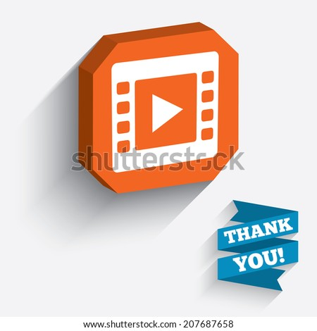 Video sign icon. Video frame symbol. White icon on orange 3D piece of wall. Carved in stone with long flat shadow. Vector - stock vector