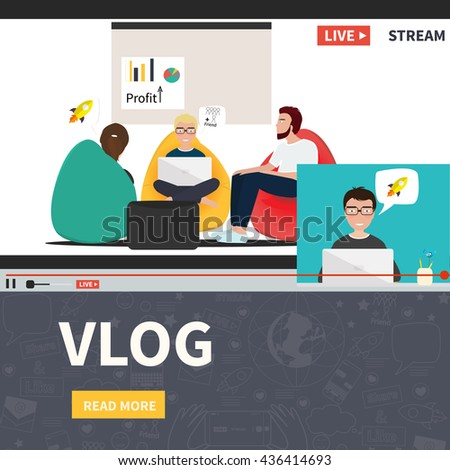 Video streaming business co working process. Watch online videos. Poster suitable for infographics, presentation or advertising. Vector illustration.