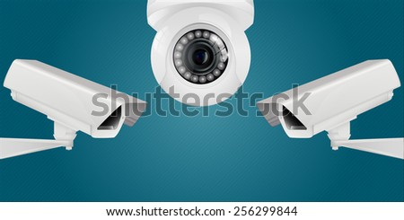 Video surveillance and CCTV security camera on abstract background. Vector illustration. - stock vector