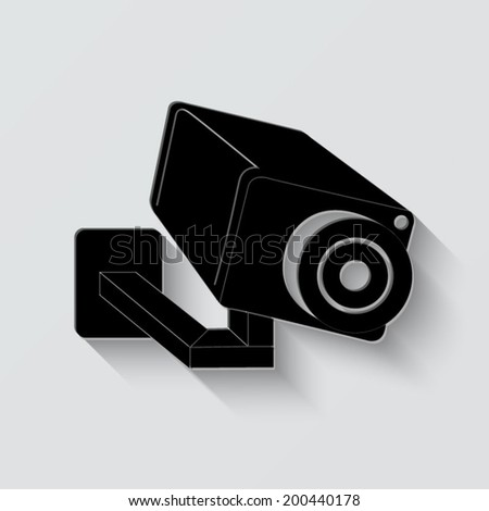 Video surveillance Camera icon - vector illustration with shadow on light background - stock vector