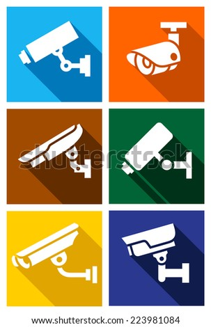 Video surveillance, cctv camera set colored squares - stock vector