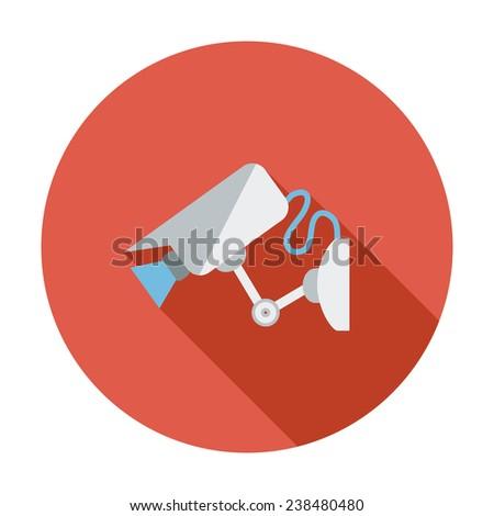 Video surveillance CCTV Camera. Single flat color icon. Vector illustration. - stock vector
