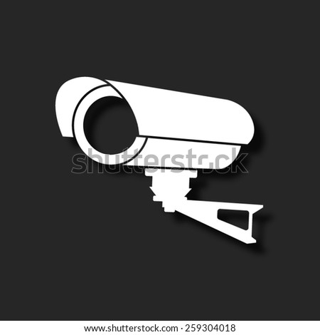 Video surveillance CCTV Camera  - vector icon with shadow - stock vector