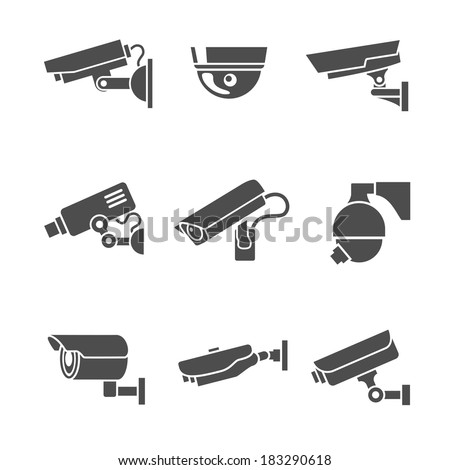Video surveillance security cameras graphic pictograms set isolated vector illustration - stock vector