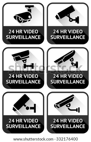 Video surveillance set, on a black square, vector illustration - stock vector
