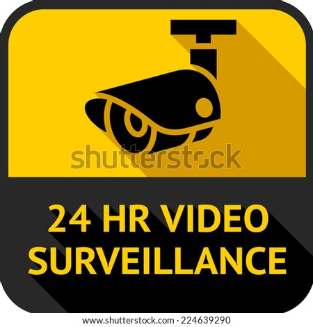 Video surveillance, set square stickers, vector illustration - stock vector