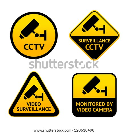 Video surveillance, set symbols security camera - stock vector