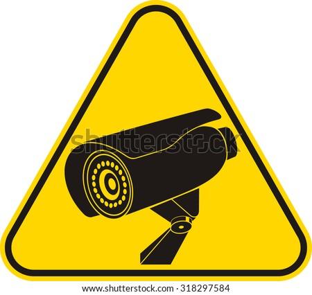 video surveillance sign cctv camera stock vector. Black Bedroom Furniture Sets. Home Design Ideas