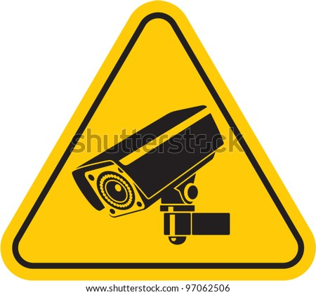 Video surveillance sign. CCTV Camera. Black vector isolated - stock vector