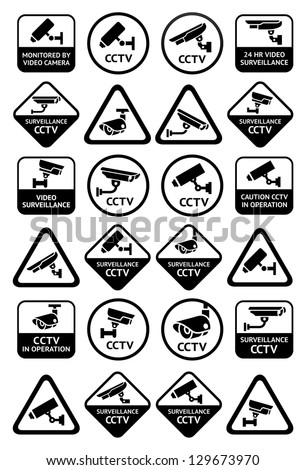 Video surveillance signs - Big black set - stock vector