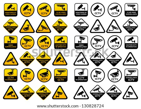 Video surveillance signs - Big yellow and black sets, vector illustration - stock vector