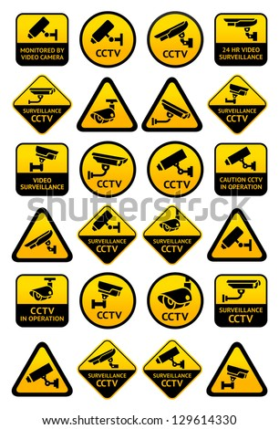 Video surveillance signs - Big yellow set, vector illustration - stock vector