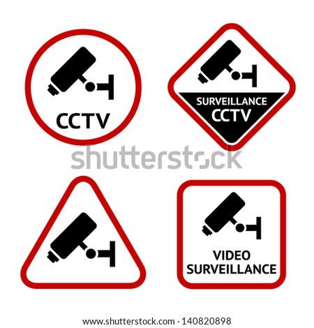 Video surveillance, sticky labels, vector illustration - stock vector