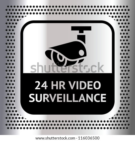 Video surveillance symbol on a metallic chromium background - stock vector