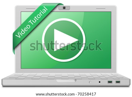 Video Tutorial. Laptop and video service sign. EPS10 - stock vector