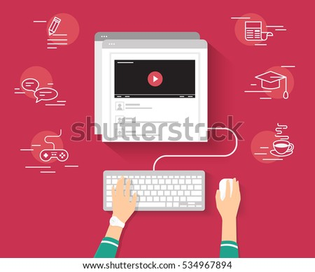 Video tutorial streaming isolated on red background. Elearning and video blogging concept illustration of female hands using browser and keyboard searching video tutorial or vlog for distance learning