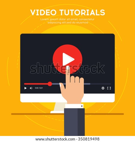 Video tutorials icon concept. Study and learning background, distance education and knowledge growth. Video conference and webinar icon, internet and video services. Vector illustration in flat style - stock vector