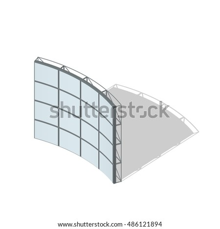 Video Wall. Isolated on white background. 3d Vector illustration.3d isometric style.