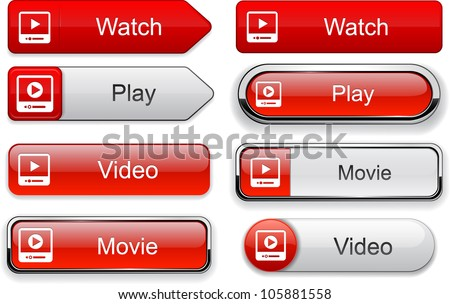 Video web buttons for website or app. Vector eps10. - stock vector