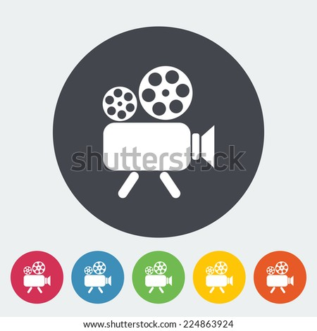 Videocamera. Single flat icon on the circle. Vector illustration. - stock vector
