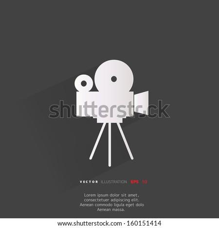 Videocamera web icon, flat design - stock vector