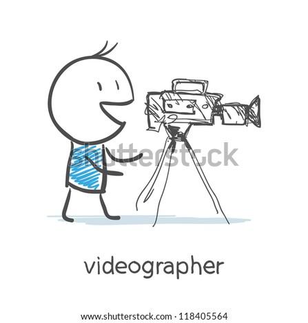 Videographer - stock vector