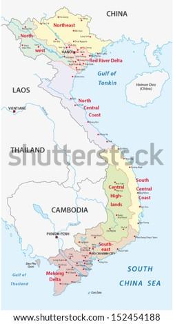 vietnam administrative map - stock vector