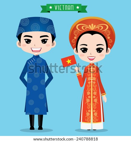 Vietnam boy and girl in traditional costume - stock vector