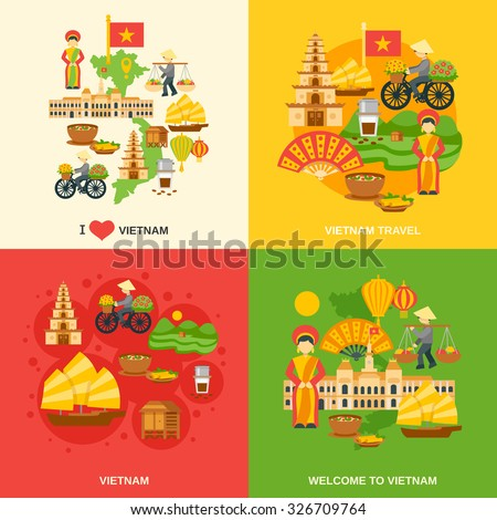 Vietnam Design Concept Set With Asia Travel Flat Icons