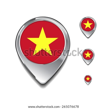 Vietnam flag map pointer. 3d Map Pointer with flag glossy button style on gray background - stock vector
