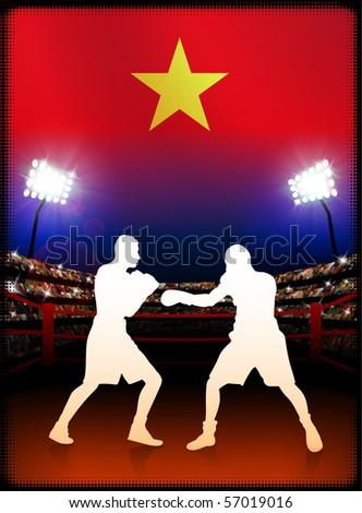 Vietnam Flag with Boxer on Stadium Background Original Illustration - stock vector