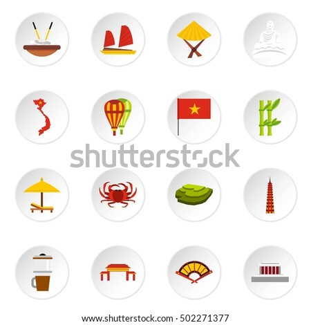 Vietnam icons set. Flat illustration of 16 Vietnam vector icons for web