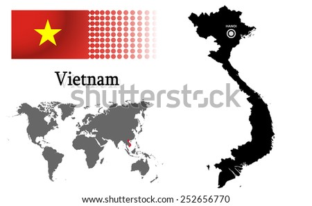 Vietnam info graphic with flag , location in world map, Map and the capital ,Hanoi, location.(EPS10 Separate part by part) - stock vector