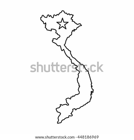Vietnam Map Icon Outline Style Isolated Stock Vector - Vietnam map outline