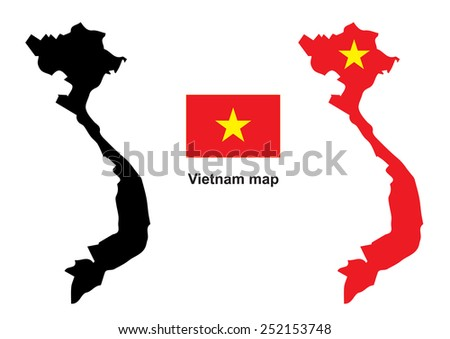 Vietnam map vector, Vietnam flag vector - stock vector