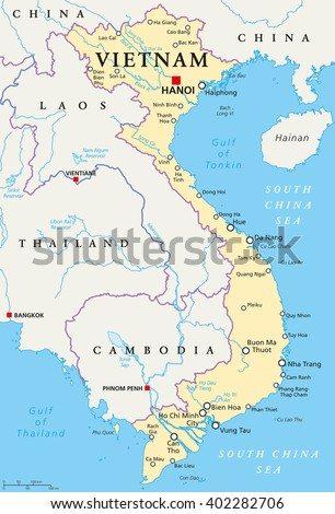 Vietnam political map capital hanoi national stock vector 402282706 vietnam political map with capital hanoi national borders important cities rivers and lakes gumiabroncs Choice Image