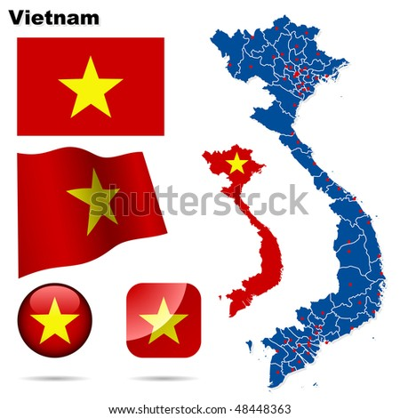 Vietnam vector set. Detailed country shape with region borders, flags and icons isolated on white background. - stock vector