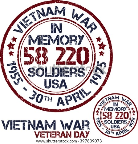 Vietnam war. Remembrance day. Vector illustration Patriotic stamps