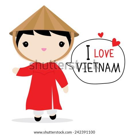 Vietnam Women National Dress Cartoon Vector - stock vector