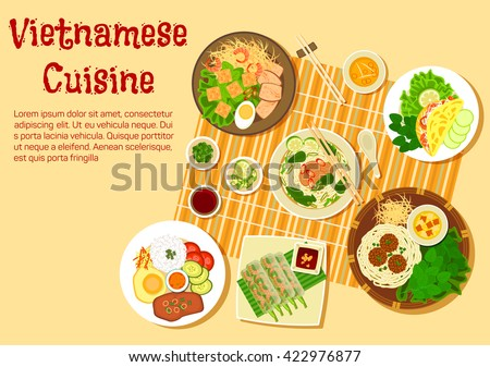 Vietnamese cuisine with beef and rice soup bun bo, rice pancakes, shrimp salad rolls, rice com tam with vermicelli cakes, meatballs with noodles and pork chop with egg and rice, vegetables and sauces