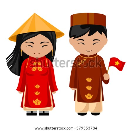 Vietnamese in national dress with a flag. A man and a woman in traditional costume. Travel to Vietnam. People. - stock vector