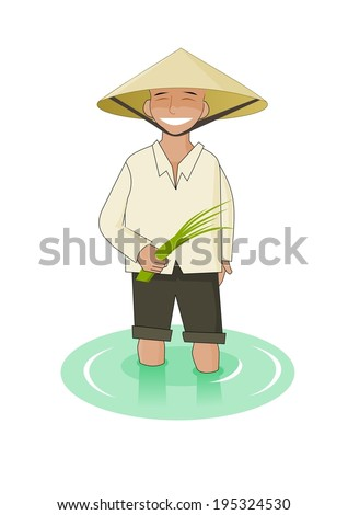 Vietnamese man with paddy in his hands