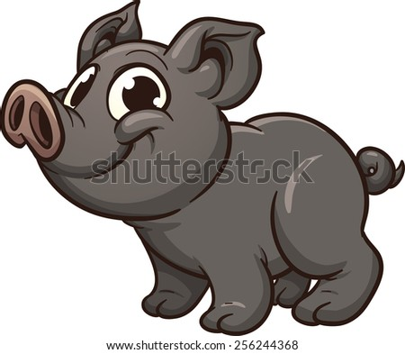 Vietnamese piglet. Vector clip art illustration with simple gradients. All in a single layer. - stock vector
