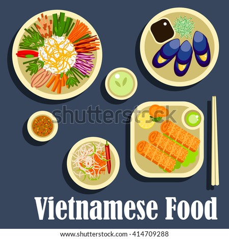 Vietnamese traditional dishes including sticky rice with assortment of fresh vegetables, grilled blue clams with fish sauce, spicy carrot salad, fried spring rolls with green chilli dressing - stock vector
