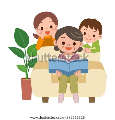 View album senior women and grandchildren - stock vector