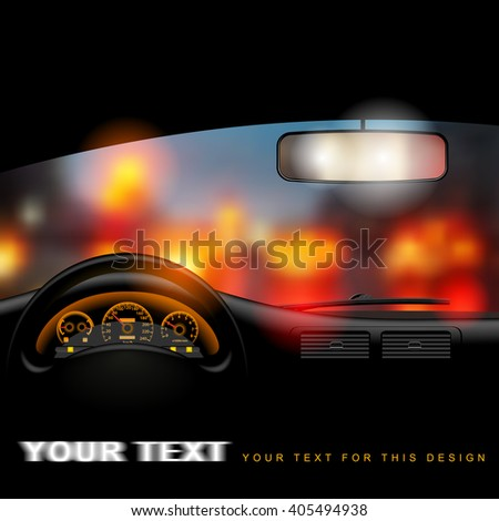 View from inside the car on the night city lights background. Vector illustration.  - stock vector