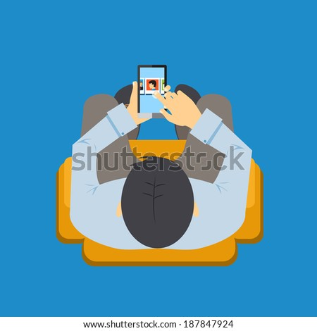 View from overhead of a man sitting in a chair using an app on his mobile phone with the screen visible as he navigates with his finger  vector illustration - stock vector