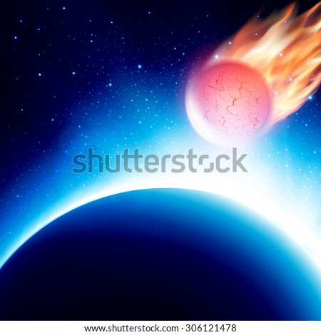 View from space of meteor approaching planet before collision. Fiery comet in atmosphere. Vector illustration. Abstract background. Scenic view of armageddon or apocalypse  - stock vector