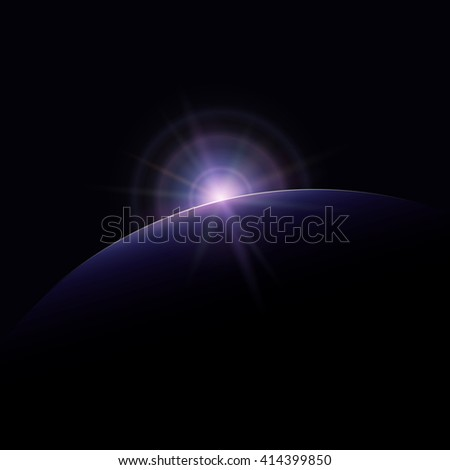 View from Space, Star Rises above the Planet, the Sun Rising over the Earth, Rays and Glare over the Earth , Space Background, Vector Illustration - stock vector